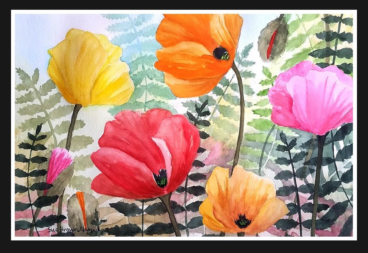 Poppy Party painting by Sue Brown Chapin